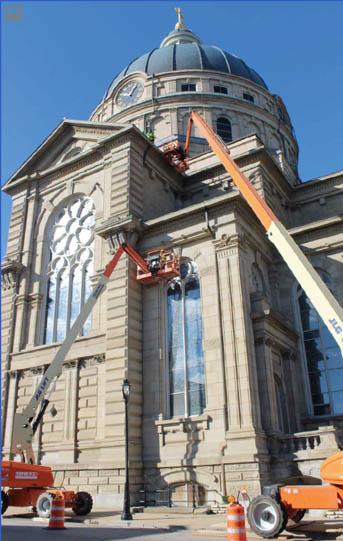 Repair work underway at the Basilica of Saint Josaphat, Milwaukee